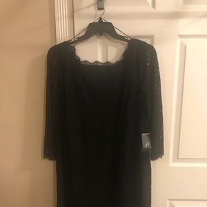 Adriana Papell NEW W/TAGS Black Lace Shift Dress